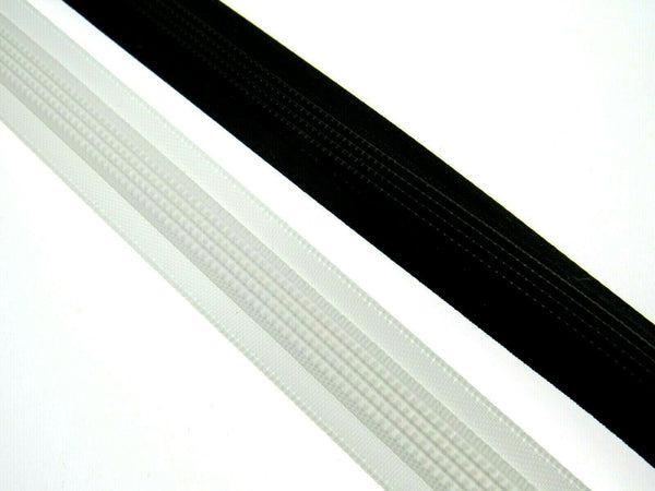 15mm Satin Covered Polyester Boning by Nortexx, Black or White 25 Meters - ThreadandTrimmings
