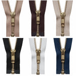 YKK BRASS METAL OPEN END ZIPPER #5 Zip CHAIN CHOOSE FROM 6 COLOURS & 11 SIZES - ThreadandTrimmings