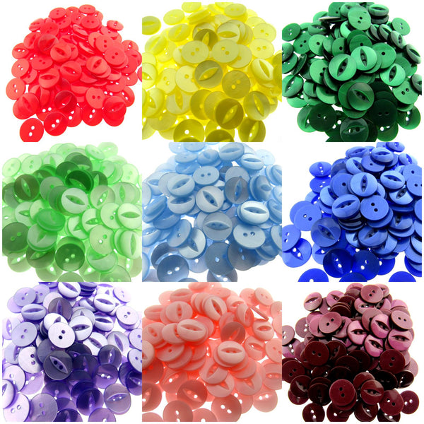 "FISH EYE BUTTONS - POLYESTER - SOLID COLOURS - SIZE 18 (11mm - 7/16"")"