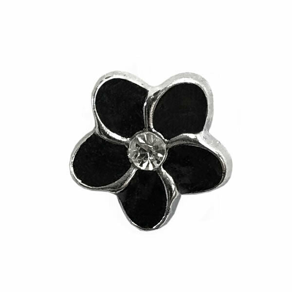 11mm PLASTIC BLACK FLOWER MICRO BUTTONS WITH SILVER COLOURED EDGE and SHANK - ThreadandTrimmings