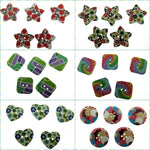 5 x Colorful Bright WOODEN Buttons, Star, Squares, Heart - ThreadandTrimmings