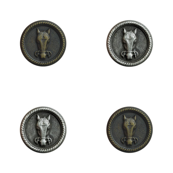 HORSE BUTTONS - FRONT VIEW - 18mm /23mm /28mm in ANTIQUE SILVER or ANTIQUE BRASS - ThreadandTrimmings