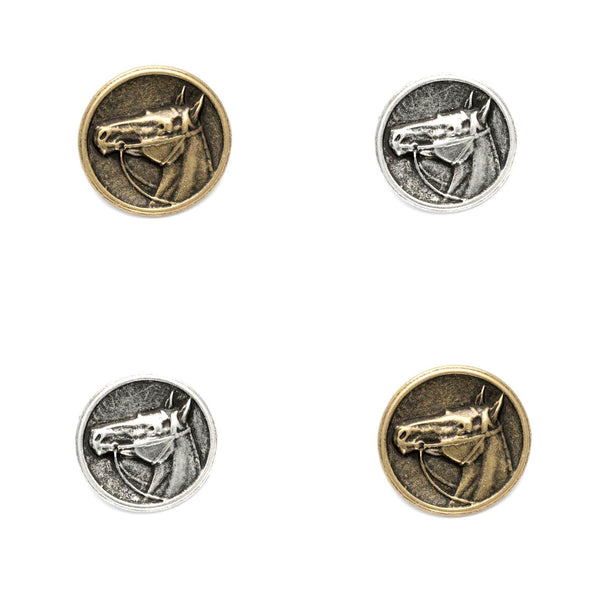 HORSE BUTTONS - SIDE VIEW - 15mm /20mm /23mm / 28mm In ANTIQUE BRASS or SILVER - ThreadandTrimmings