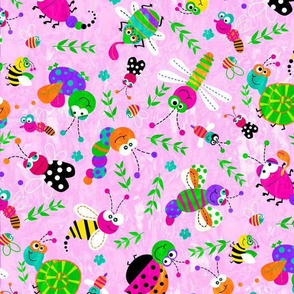 ** CHILDRENS HAPPY BUGS FAT QUARTERS 100% COTTON PRINT FABRIC in PINK - ThreadandTrimmings
