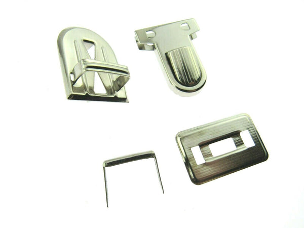 Chrome Tuck Locks & Clasps for Handbag, Purse or Briefcase Making - Size 26mm - ThreadandTrimmings