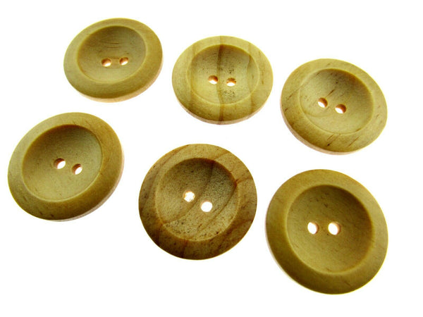 6 x TWO HOLE WEDGED RIMMED WOODEN BUTTONS - 6 SIZES AVAILABLE (CW3) - ThreadandTrimmings