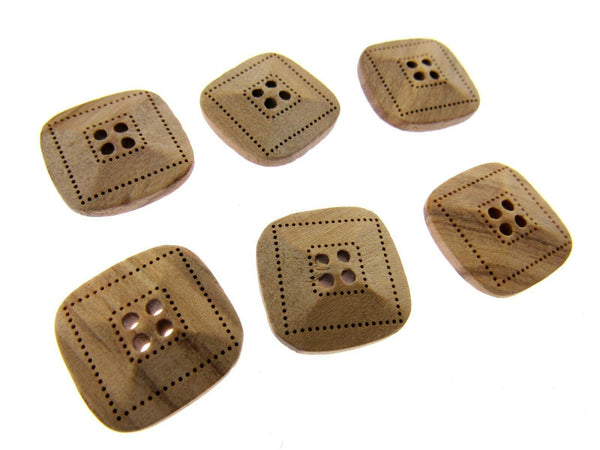 6 x FOUR HOLE SQUARED OLIVE WOOD BUTTONS - LAZER CUT - 2 SIZES AVAILABLE (CW9) - ThreadandTrimmings