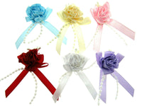 20 x RIBBON CARNATION BOWS with STAMENS and PEARL STRING TAILS (53415)