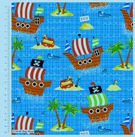 ** SHIP AHOY - 100% COTTON FABRIC - TURQUOISE - 2134-00