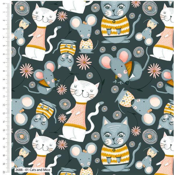 ** Kitty garden Cats & Mice - 100% COTTON FABRIC - Grey - 2688-01