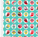 ** Happy Owls in Circles - 100% COTTON FABRIC - Turquoise - 2689-01