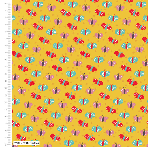 ** Butterflies - 100% COTTON FABRIC - Yellow - 2689-02