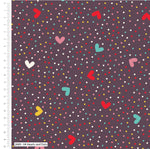 ** Hearts & Dots - 100% COTTON FABRIC - Dark Aubergine - 2689-04