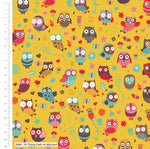** Flying Owls - 100% COTTON FABRIC - Yellow - 2689-05