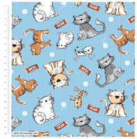 ** FRIENDLY CATS - 100% COTTON FABRIC - LIGHT BLUE - 2695-00