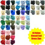 "44 x ASSORTED NYLON DRESS AND CRAFT ZIPS MIX - 10 SIZES - 6""-22"""