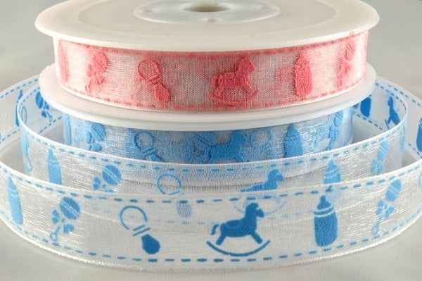 ** 15mm ORGANZA BABY RIBBON - PINK or BLUE - ThreadandTrimmings