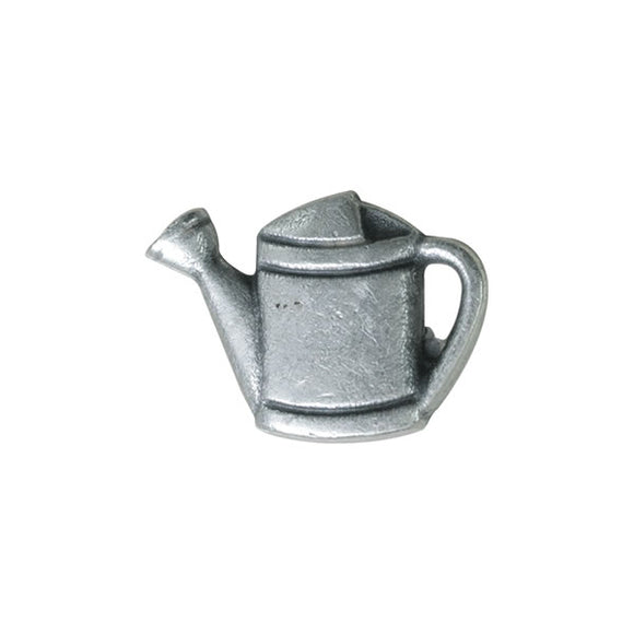 Antique Silver Metal Flower Watering Can Button