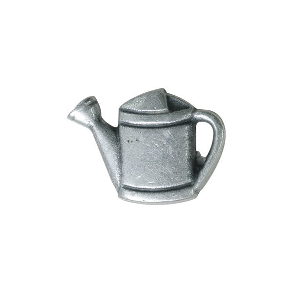 Antique Silver Metal Flower Watering Can Button - ThreadandTrimmings