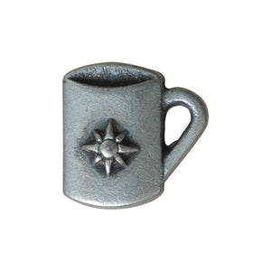 Antique Silver Metal Coffee Mug Button