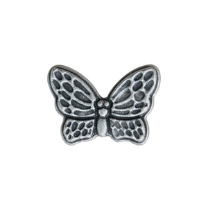 Antique Silver Metal Butterfly Button