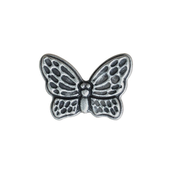 Antique Silver Metal Butterfly Button - ThreadandTrimmings
