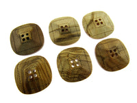 "6 x FOUR HOLE SQUARED ""OLIVE WOOD"" BUTTONS - LAZER CUT - 2 SIZES AVAILABLE (CW9)"