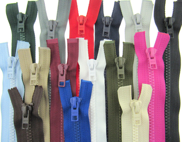 "30"" Plastic Open End Zips - Optilon - 5mm- 16 Colours - ThreadandTrimmings"