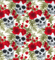 ** SKULLS & ROSES - DAY OF THE DEAD - IVORY/RED  - COTTON POPLIN - 100% COTTON