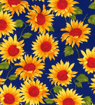 ** SUNFLOWER WITH ROYAL BACKGROUND  - COTTON POPLIN - 100% COTTON