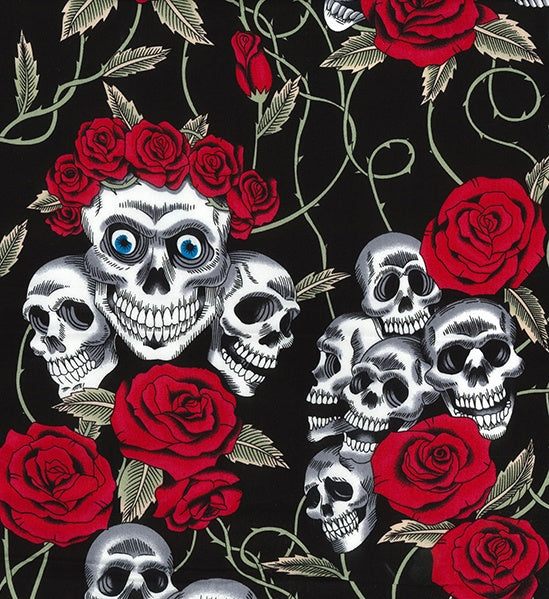 ** SKULLS & ROSES - DAY OF THE DEAD - RED ROSES - COTTON POPLIN - 100% COTTON