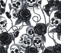 ** SKULLS & ROSES - DAY OF THE DEAD - BLACK / IVORY COTTON POPLIN - 100% COTTON