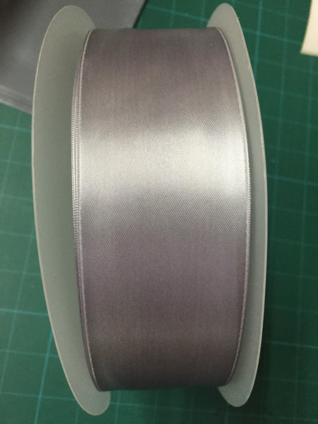 100m x 50mm SILVER GREY DOUBLE SIDED SATIN RIBBON 2 INCHES WIDE - ThreadandTrimmings