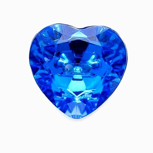 ACRYLIC HEART JEWEL BUTTONS - SEW THROUGH HOLES - SIZ COLOURS & FOUR SIZES - ThreadandTrimmings