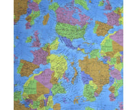 ** WORLD GLOBE - 100% COTTON FABRIC - TURQUIOSE - 140cm - 747EAC