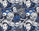 ** HALLOWEEN COMIC STRIP  - 100% COTTON FABRIC - BLUE 145cm - 3172ERA