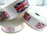 UNION JACK PRINTED on WHITE SATIN RIBBON 25mm & 38mm - ThreadandTrimmings