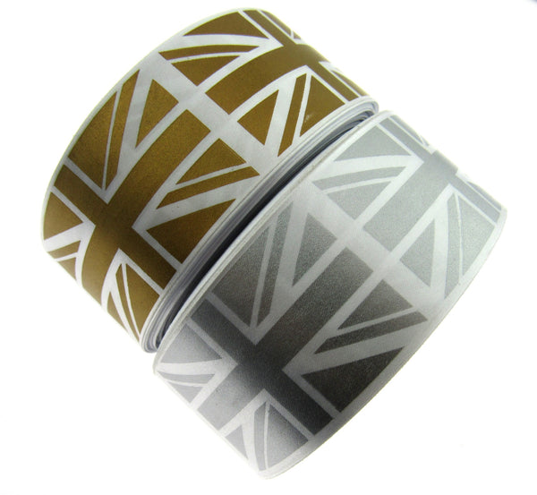 ** 3m x 38mm Gold or Silver Single Sided Satin Union Jack Patriotic Ribbon - ThreadandTrimmings