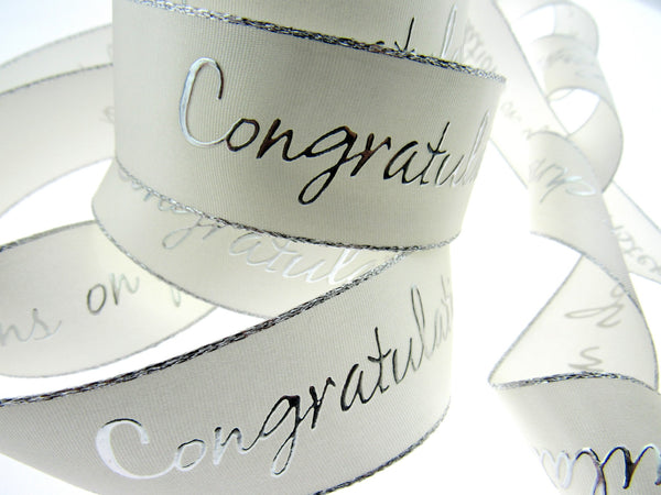 CHRISTENING RIBBON IN IVORY WITH LUREX EDGE 15mm or 32mm - ThreadandTrimmings