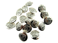 SILVER PLASTIC CRESTED BLAZER BUTTONS - 3 Sizes 15mm 18mm 21mm - With Shank CX23 - ThreadandTrimmings