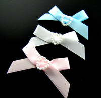 10mm Satin Ribbon Baby Bows With Pearl Heart Centre - ThreadandTrimmings
