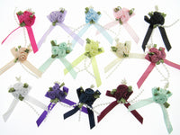 Ribbon Bows with Rose Cluster, String Beads, Stamens and Contrasting Leaves - ThreadandTrimmings