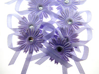 12 x Lilac Satin Ribbon Bows