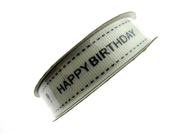 3m Happy Birthday Ribbon - 16mm - Ivory with Black Text and Balloon