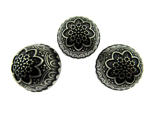 3 x Antique Silver Crested Buttons (Size 44 - 25mm / 1 Inch)