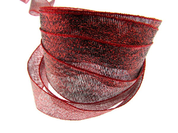 ** 3m x Red Lurex Ribbon - 25mm Wide