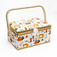 SEWING BASKETS (24cm x 17.5cm x 13cm) INCLUDES SEWING TRAY - ThreadandTrimmings