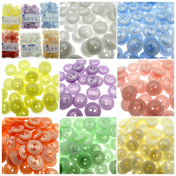 10 x Milled Edge Buttons - 2 HOLE - 11.5mm / 14mm / 16mm