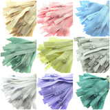 PASTEL SAMPLE ZIP MIX - 10 ASSORTED PASTEL COLOURS - CLOSED END NYLON ZIPS - ThreadandTrimmings