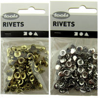 Flat Round Rivets - 50pcs of 7mm Diameter Rivets in Gold or Silver